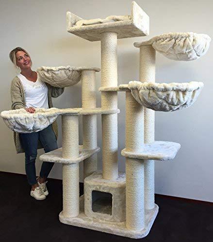 RHRQuality Kratzbaum große Katzen Stabil XXL Maine Coon Fantasy Plus Beige Katzenkratzbaum für schwere Katze hoch
