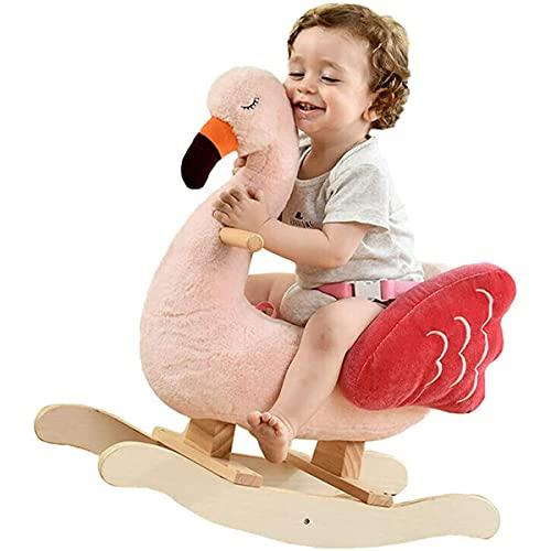 KCGNBQING Rocking Horse Children Kids Pink Swan Animal Rocking Silla Donkey Ride-On Juguetes Rocking de Madera Caballo Niño/Niño Rello Relleno Juguete Regalo para Niño 1-3 AÑOS de Edad Mecedor