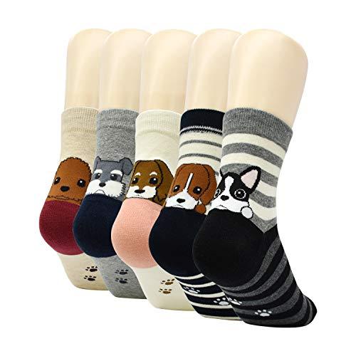 HYCLES Bunte Damen Lustige Socken - 5 Paar Karikatur Tier Witzige Niedlich Katze Hund Baumwolle Thermal Socken für Mädchen Weihnachtsgeschenke Welpe Fußabdruck