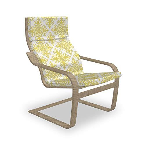 ABAKUHAUS Grün und Weiß Poäng Sessel Polster, Damast Rokoko, Sitzkissen mit Stuhlkissen mit Hakenschlaufe und Reißverschluss, Pale Green White