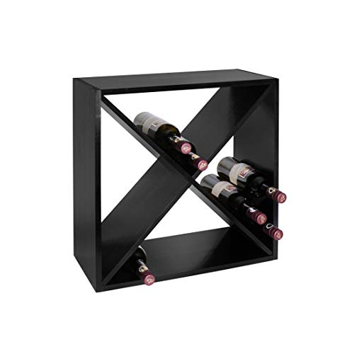 Weinregal/Flaschenregal System Modul X-Cube für 24 Flaschen, Holz Kiefer, schwarz lackiert, stapelbar/erweiterbar - H 52 x B 52 x T 25 cm