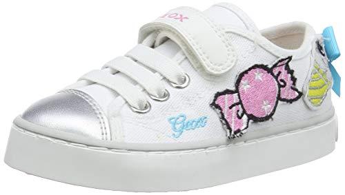 Geox JR Ciak Girl I, Scarpe da Ginnastica Basse Bambina, Bianco (White/Multicolor C0653), 37 EU