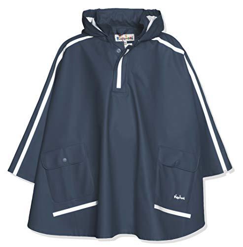 Playshoes Kinder Regencape, leichter Regenponcho, mit extra langem Rücken und abnehmbarer Kapuze, Blau (marine), 140