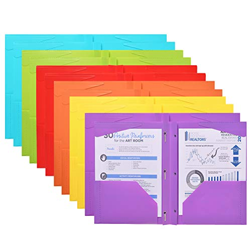 JISUSU 12 Pack Heavy Duty Plastic Folders with Pockets and Prongs , 2 Pocket Plastic Folder with Fasteners , 6 Assorted Colors Plastic Folders with Business Card Slot,Perfect for Organization