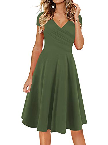 oxiuly Women's V-Neck Cap Sleeve Floral Casual Work Stretch Swing Dress OX233 (L, Army Green)