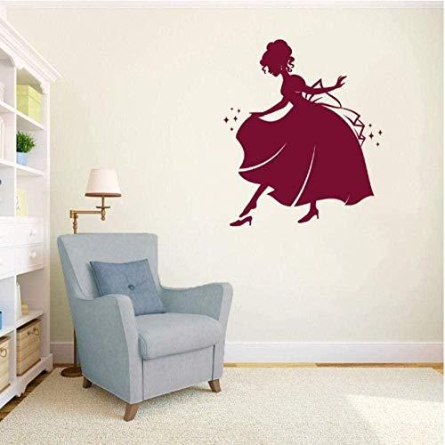 Etiqueta de la pared etiqueta de la pared princesa lleva zapatos pegatina niños hogar dormitorio arte de la pared decoración extraíble 42x48cm