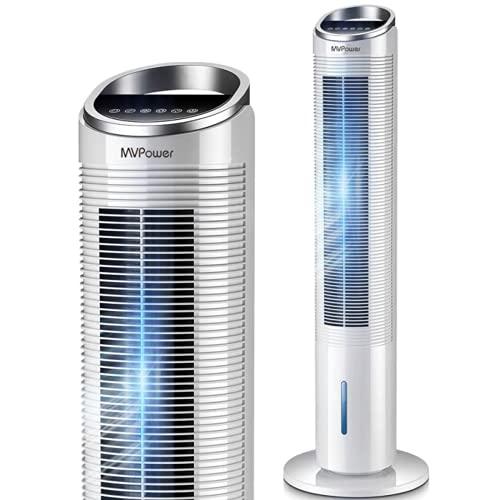 MVPower Turmventilator mit Fernbedienung und Wasserkühlung, mobiles Klimagerät Luftkühler leiser Standventilator mit 3 Geschwindigkeitsstufen, 50° Oszillierend, Schlafmodi, 1-8h Timer, 101 CM