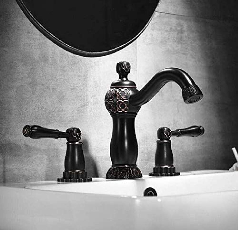 Messing Chrome Warmes und Kaltwasser Mischer Antik Schwarz Finish Klassische Messing Waschbecken Wasserhahn Doppelgriff 3 Loch Bad Zhler Mischbatterie
