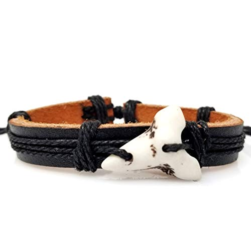 Shark Tooth Leather Bracelet -Surfer Bracelet -Shark Teeth Bracelet - Shark Jewelry (Black Leather White Tooth)