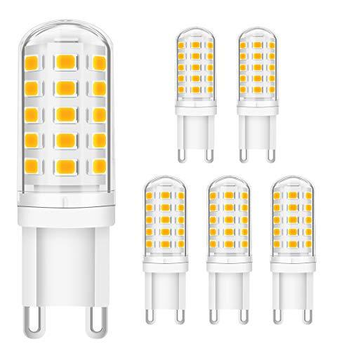 KINGSO G9 LED Dimmbar Warmweiß G9 Lampen 5W ersatz 40W Halogenlampe, G9 Sockel Led leuchtmittel 3000K 400lm Kein Flackern, 230V G9 Glühbirne led - 6er Pack