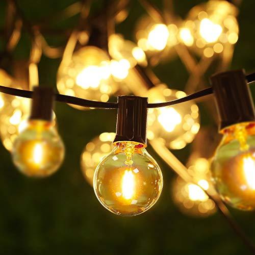 Criacr Outdoor String Lights, 25ft G40 Outdoor Patio Lights, Waterproof Indoor/Outdoor Garden String Lights, for Garden, Porch, Backyard Patio, Wedding, Party Decoration (25 Bulbs + 2 Spare Bulbs)