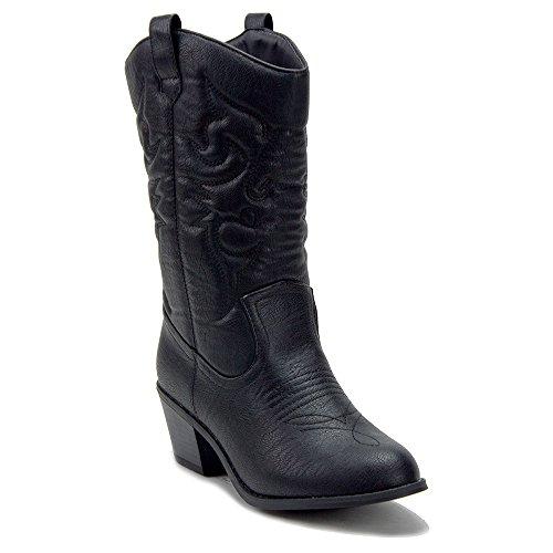 J'aime Aldo Women's BDW-14 Tall Stitched Western Cowboy Cowgirl Boots, Black, 10