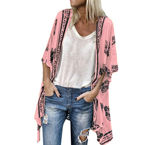 Lazzboy Women Cover-up Kimono Boho Ethnic Floral Leaves Printed Sunscreen Half Sleeve Sheer Chiffon Plus Size Oversized(3XL(20),Pink)
