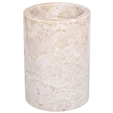 Creative Home Natural Champagne Marble Multi-Functional Tool Crock, 5  Diameter x 7  H, Beige Color