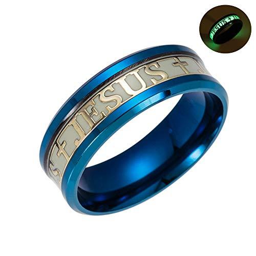 HXML Glow Ring Schreiben Jesus Personalisierte Ring Partei fluoreszierender Schmuck,Blau,10
