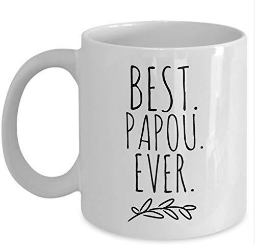 """ZGNNN-EU Kaffeetasse mit Aufschrift """"Best Papou Ever"""", Geschenk für griechische Opa, Papou, Opa, Großeltern, griechische Kaffeetasse, griechische Geschenke"""