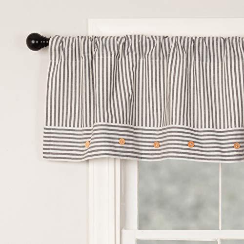 "Farmhouse Ticking Stripe Gray Valance 16"" x 60"", Farmhouse Style Kitchen, Bath, Bedroom Curtain w/ Button Accents"