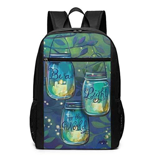 IUBBKI Be A Light Garden Flag Inspirational Candles Business Durable Laptops Backpack School Laptop Notebook Bag For Women Men 17 Inches