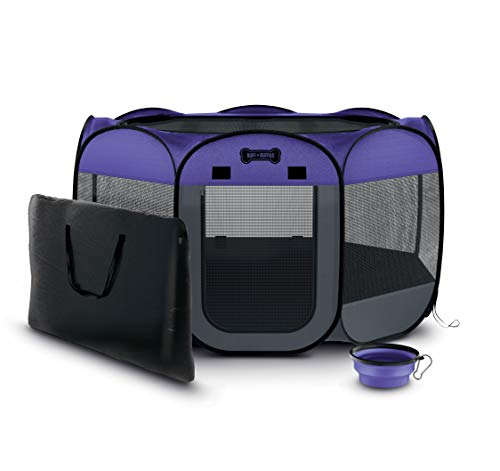"""Ruff 'n Ruffus Portable Foldable Pet Playpen + Carrying Case & Collapsible Travel Bowl 