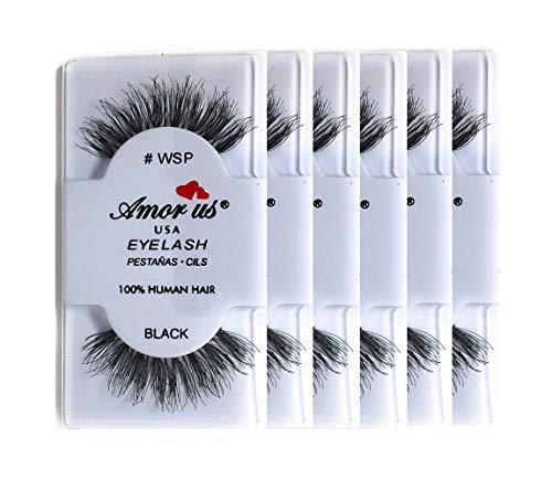 Amorus 100% Human Hair False Eyelashes #WSP - Black - (6 Pack) - Wispy False Eyelashes - Glamorous Look of Fuller, Longer Lashes