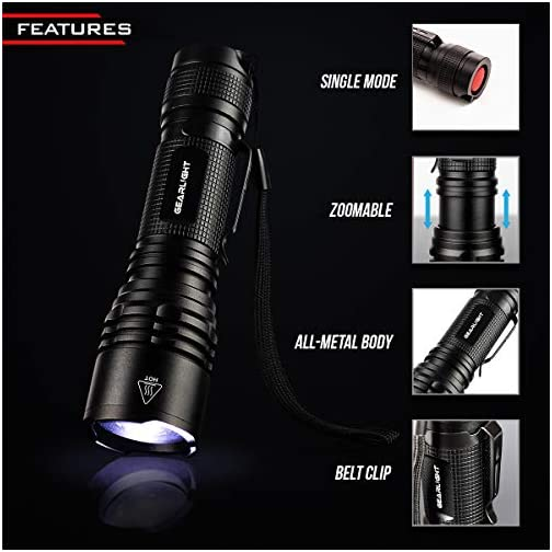 GearLight Tac LED Tactical Flashlight [2 Pack] - Single Mode, High Lumen, Zoomable, Water Resistant, Flash Light… 4