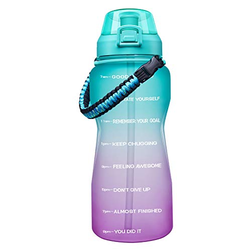 (50% OFF Coupon) Motivational Water Bottle with Paracord Handle & Straw $9.99
