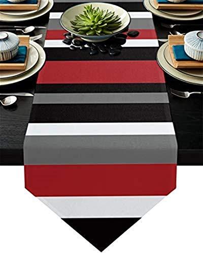 VJRQM Tischläufer Rutschfester Sackleinen-Couchtischläufer für Party,Abendessen,Feiertage,Küche,alltägliche Tischdekoration,geometrischer Grauer schwarzer roter weißer Streifen,13 x 70 Zoll