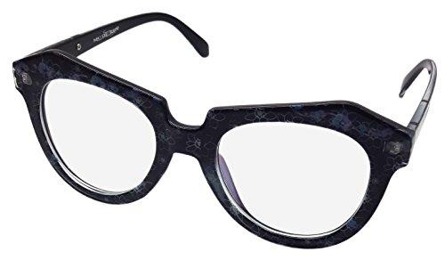 NEW Grand Transparent Objectif Lunettes de geek Fancy Dress Rétro Noir avec motif bleu CL2