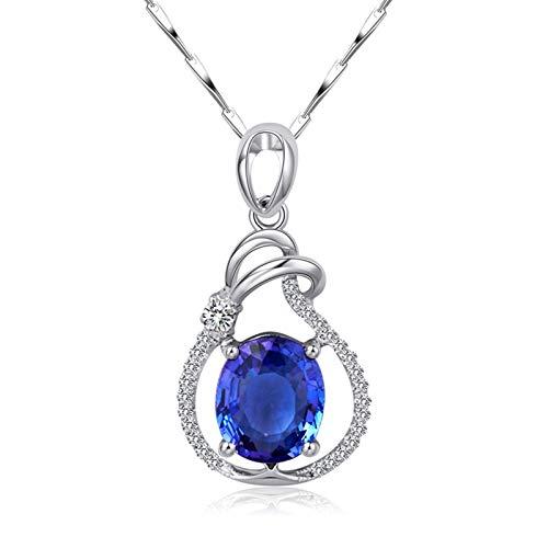 AnazoZ 18K Oro Blanco Collar Colgante Mujer Plata Collar Colgante Mujer Oval Tanzanita Azul Blanca 1.57ct