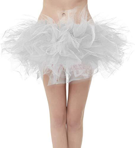GirstunmBrand Mini tutú de tul para mujer, 50 unidades, para ballet plata S