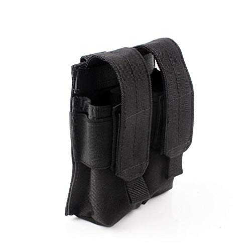 FIRECLUB Tactical Double Pistol Magazine Pouch Mag Holder Military Airsoft Mag Holder Bag Hunting Accessories Flashlight Bag Black