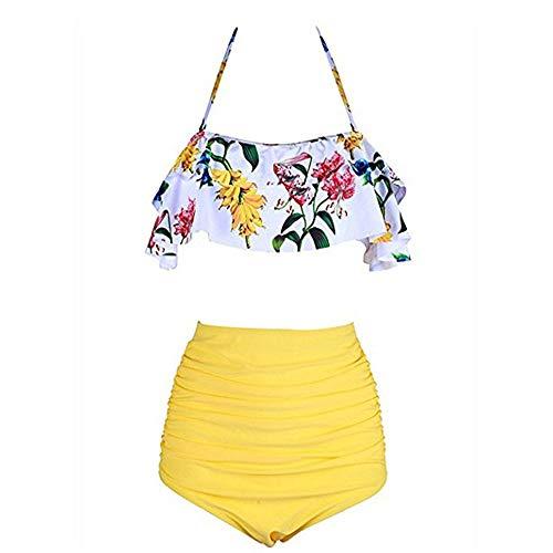 Heartbeat Damen-Bikini, hohe Taille, Badeanzug, Übergröße, Push-Up-Bikini-Set, Vintage-Bikini Gr. M, J