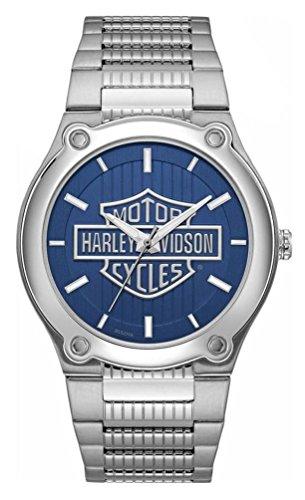 Harley Davidson Cinturino in acciaio inossidabile con quadrante blu stampa logo 76A159