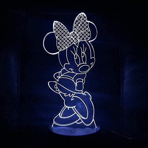 Luz De La Noche Del 3D Luz Nocturna Infantil Lámpara Mickey Mouse 7 Colores Cambio De Botón Táctil Y Cable Usb Navidad Cumpleaños Regalo
