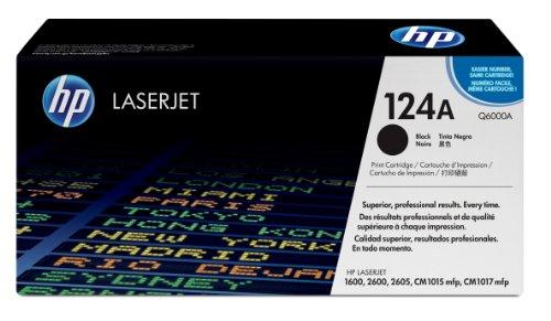 HP 124A Q6000A, Negro, Cartucho Tóner, de 2.500 páginas, para impresoras HP ColorLaserJet 2600N, 1600, 2605, 2605dn, 2605dtn, CM1015 MFP, CM1017 MFP y 260NSE