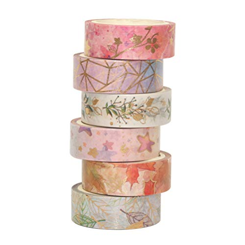 6 Rolls Washi Tape Set, Scrapbook Printing Decorative Masking Tape for Gift Craft Wrapping Holiday Decoration