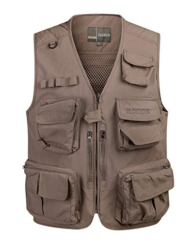 KTWOLEN Chaleco de pesca de algodón puro para hombre, chaleco Safari con múltiples bolsillos,...