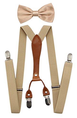 JAIFEI Suspenders & Bowtie Set- Men's Elastic X Band Suspenders + Bowtie For Wedding, Formal Events (Champagne)