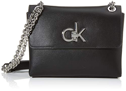 Calvin Klein Damen RE-Lock Conv Crossbody MD Umhängetasche Schwarz (Black)