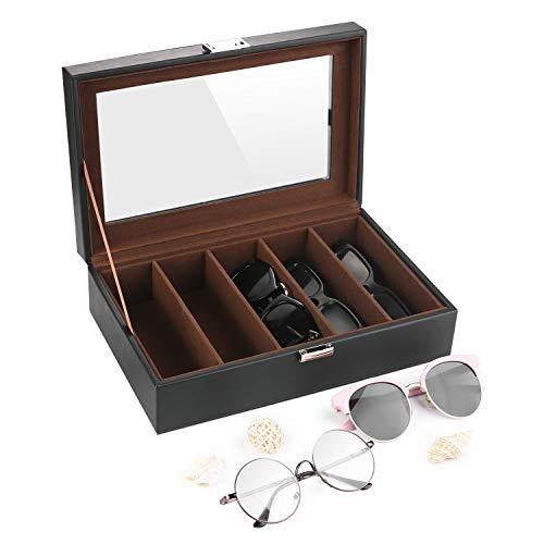 SHYOSUCCE Brillenbox für 5 Brillen, Brillenaufbewahrung mit Sichtfenster aus Glas für Brillen, Sonnenbrillen und Lesebrillen, Schwarz (29x18.5x8cm)