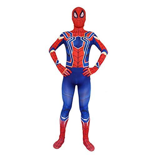 Classic Spiderman Movie Cosplay Suit Prestaties van het kostuum Stage Superhero Red and Blue Kledij 3D Gedrukt Spider Patroon SPIDERSYBB (Color : JUMPSUIT, Size : Adult S 150-160cm)
