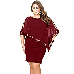 Red Sequins Shawl Large Size Cocktail Mini Dress