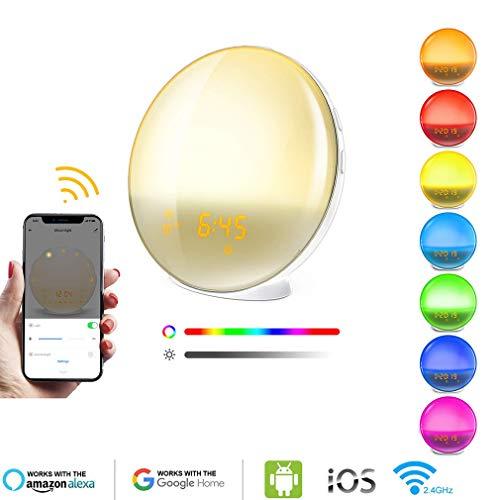 Smart Wi-Fi-Sonnenaufgang Wecker Wake Up Licht, Wecker-Radio Für Schlafzimmer, Arbeit Mit Alexa, Google-Startseite, Snooze, 4 Alarmen, 7 Sounds, Für Erwachsene Für Kinder Und Schwer Sleepers