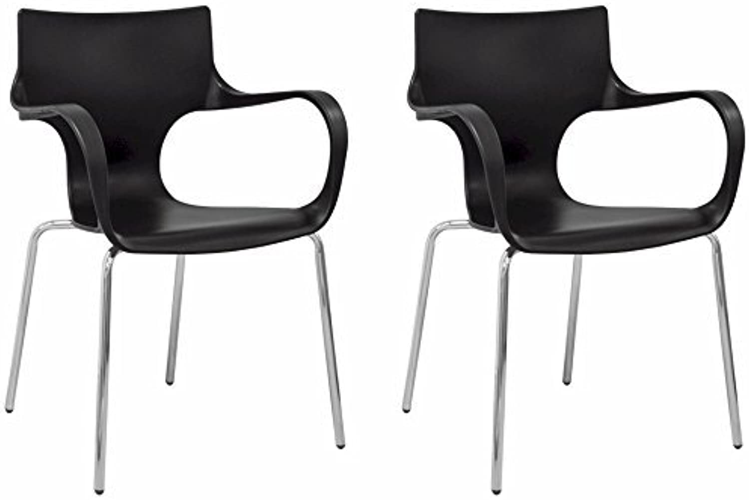 Mod Made Modern Contermporary Phin Arm Chair Dining Chair, Black, Set of 2