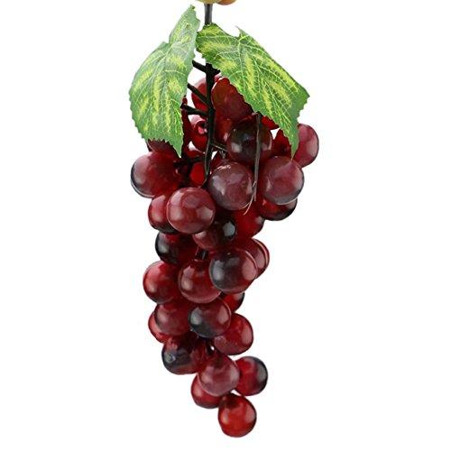 Cr Künstliche Trauben Weintrauben Traube Kunstobst künstliches Obst Garten Deko Grün Lila 17cm (lila)