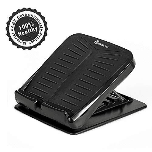 StrongTek Portable Slant Board, Adjustable Incline Boards, Calf Stretcher, Desk Foot Rest, Foot Stool, Anti Slip Design, Ankle Stretching, 4 Positions Calve Stretch Wedge (300LB Capacity) (Black)