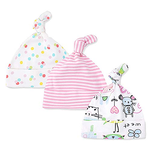LACOFIA Sombrero de Beanie de algodón para bebé niñas y niños de recién Nacido Unisex Gorro Nudo de Las bebé de Esencial 3 Piezas 004