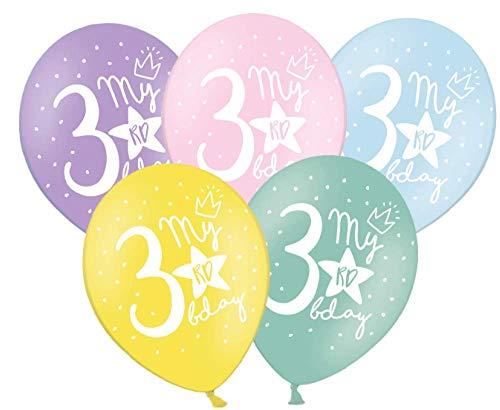 Libetui 10 Starke farbige Pastel Luftballons Nummer 3 Deko zum 3. Geburtstag Party Kindergeburtstag Dekoration Stern & Aufdruck 'My 3rd Birthday'