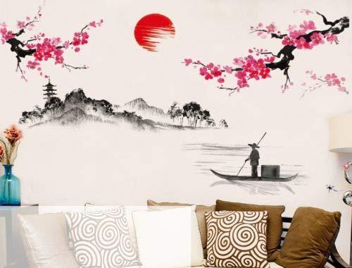 Utopiashi im chinesischen Stil japanische kirschblüte Sakura rosa Baum dekor wandsticker - dekor