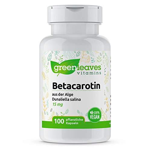 Greenleaves Vitamins - Betacarotin 100 pflanzliche Kapseln 15 mg Dunaliella Salina